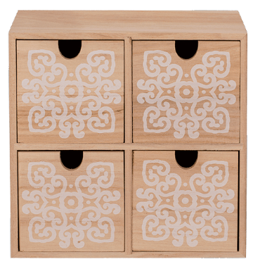 Wooden SMALL CABINET DRAWER Jewellery Storage Organiser - MANDALA Design 4 Drawers